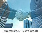 business man handshake on night ... | Shutterstock . vector #759552658