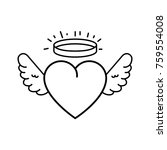 cute heart with wings and halo | Shutterstock .eps vector #759554008