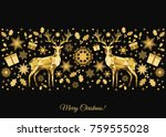 christmas pattern. golden  tree ... | Shutterstock .eps vector #759555028
