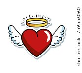 cute heart with wings and halo | Shutterstock .eps vector #759556060