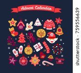 christmas advent calendar with... | Shutterstock .eps vector #759556639