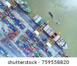 container container ship in... | Shutterstock . vector #759558820