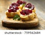 vegetarian appetizers with... | Shutterstock . vector #759562684