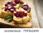 vegetarian appetizers with... | Shutterstock . vector #759562690