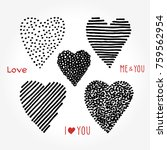 hand drawn striped hearts and... | Shutterstock .eps vector #759562954