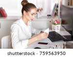 attractive young business woman ... | Shutterstock . vector #759563950