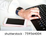 women's hands are typing on ... | Shutterstock . vector #759564004