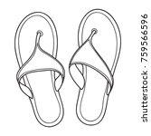 pair of flip flops  summer time ... | Shutterstock .eps vector #759566596