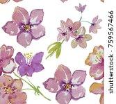 pink flowers. watercolor... | Shutterstock . vector #759567466