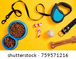 Stock photo dog accessories on yellow background top view pets and animals concept 759571216
