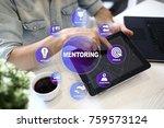mentoring on the virtual screen.... | Shutterstock . vector #759573124