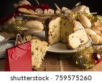 bread and christmas cake on the ... | Shutterstock . vector #759575260