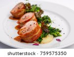 grilled pork medallions with... | Shutterstock . vector #759575350
