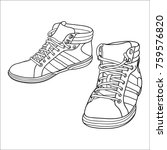 hand drawn sneakers  gym shoes. ... | Shutterstock .eps vector #759576820
