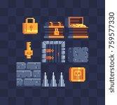 flat pixel art icons set.... | Shutterstock .eps vector #759577330