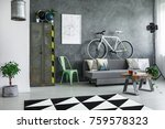 lamp next to grey sofa with... | Shutterstock . vector #759578323