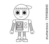 cartoon robot icon over white... | Shutterstock .eps vector #759580840
