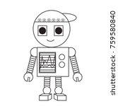 cartoon robot icon over white... | Shutterstock .eps vector #759580840