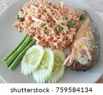 rice mixed with shrimp and... | Shutterstock . vector #759584134