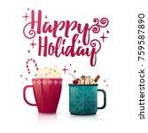 design seasonal banner happy... | Shutterstock .eps vector #759587890
