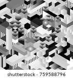 seamless 3d isometric cub... | Shutterstock .eps vector #759588796