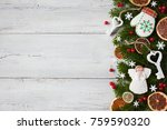 christmas wood background with... | Shutterstock . vector #759590320
