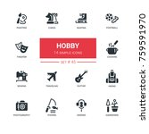 hobby   line design icons set.... | Shutterstock .eps vector #759591970