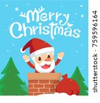 merry christmas. santa in a... | Shutterstock .eps vector #759596164