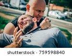 knife threat. kapap instructor... | Shutterstock . vector #759598840