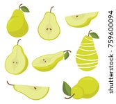 vector pears. whole and cut... | Shutterstock .eps vector #759600094