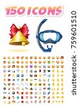 set of realistic cute icons on... | Shutterstock .eps vector #759601510