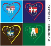 set of hearts with flags of the ... | Shutterstock .eps vector #759601660