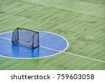 mini soccer goal on cement floor | Shutterstock . vector #759603058