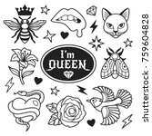 fashion patches collection.... | Shutterstock .eps vector #759604828