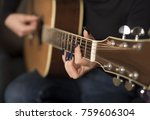 young hipster woman playing a...   Shutterstock . vector #759606304