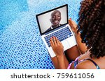 african man talking on video... | Shutterstock . vector #759611056