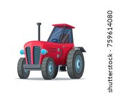 red cartoon tractor isolated on ... | Shutterstock .eps vector #759614080