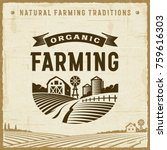vintage organic farming label.... | Shutterstock .eps vector #759616303