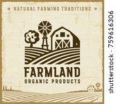 vintage farmland label.... | Shutterstock .eps vector #759616306