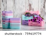 miniature colorful plastic... | Shutterstock . vector #759619774