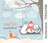 happy penguins swinging in... | Shutterstock .eps vector #759621988
