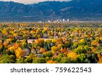 Downtown Colorado Springs as seen from Grandview Lookout in Palmer Park - stock photo