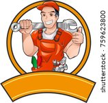 orange handyman half body... | Shutterstock .eps vector #759623800