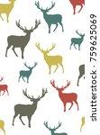 seamless colorful vector deer...   Shutterstock .eps vector #759625069