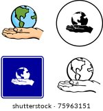 world in hand illustration sign ... | Shutterstock .eps vector #75963151