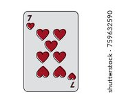 seven of hearts french playing... | Shutterstock .eps vector #759632590