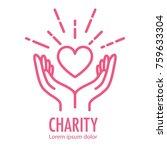 heart in hands symbol line icon.... | Shutterstock .eps vector #759633304