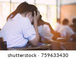 students taking exam with... | Shutterstock . vector #759633430