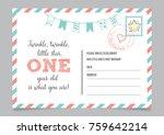 girl one year birthday... | Shutterstock .eps vector #759642214