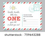 girl one year birthday... | Shutterstock .eps vector #759643288